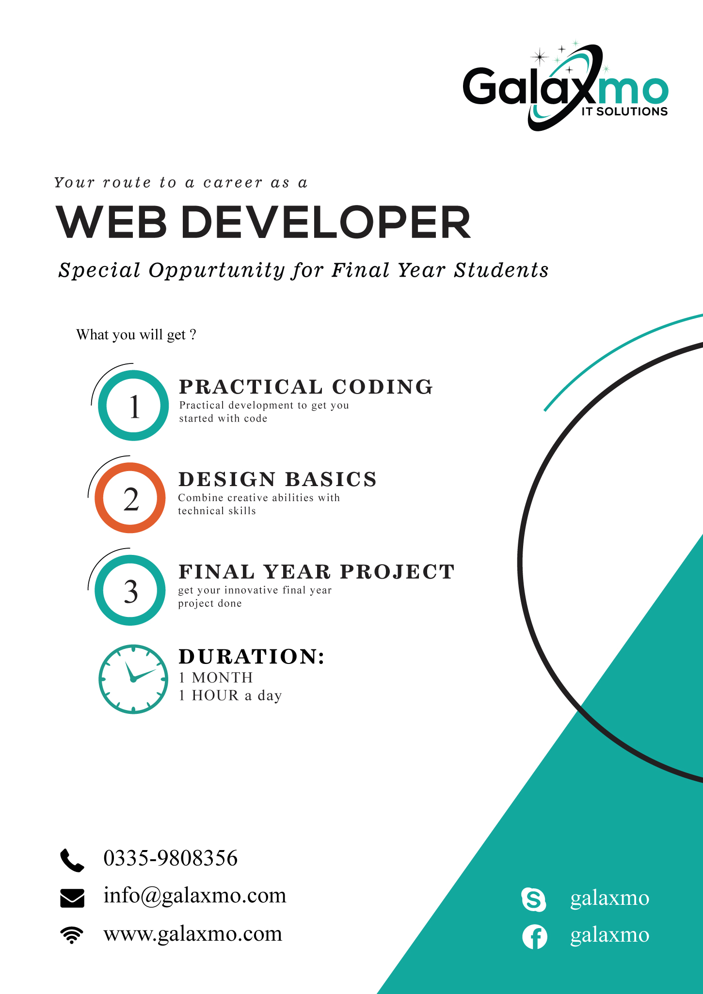 Web Development Course Poster – Galaxmo IT Solutions